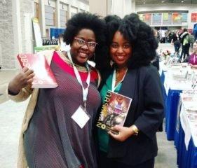 Gabrielle Civil and Sheree Renee Thomas (CW '99) at OBSIDIAN book launch AWP 17